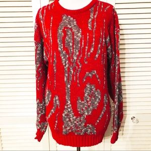 Vintage Red & Gold Grandpa Style Sweater